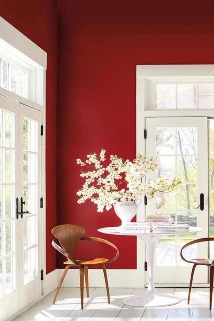 Red + White Airy Room Colour Scheme