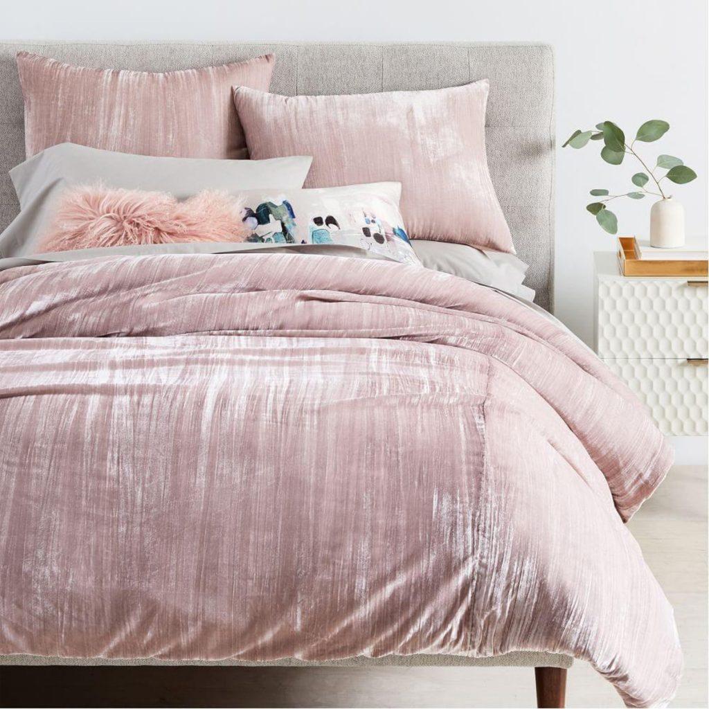 Crinkle Velvet Duvet Cover + Pillowcases from West Elm.