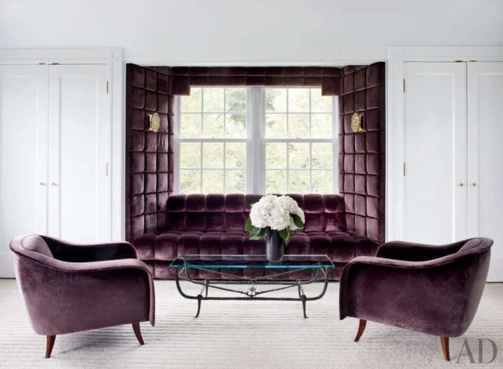 Glamorous Aubergine + White Colour Scheme Living Room