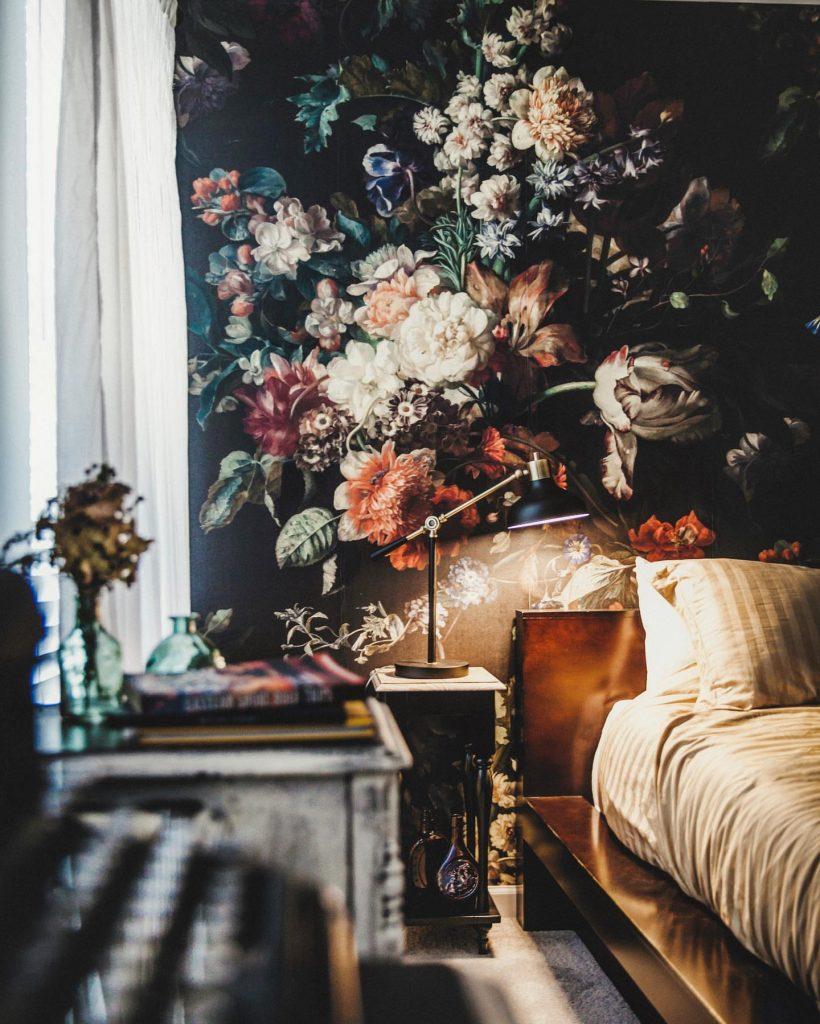 A Golden Age Velvet Black Floral Wallpaper