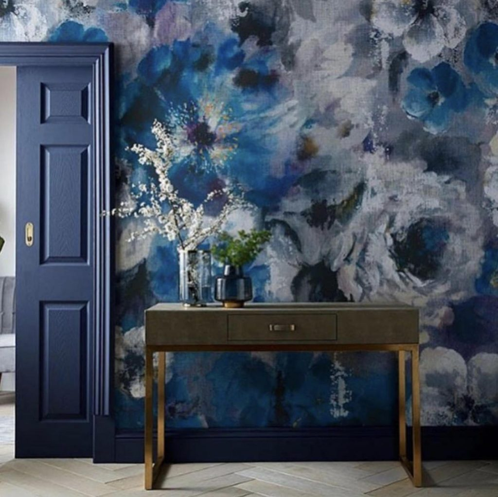 1838 Wallcoverings Sapphire Bloom Floral Mural