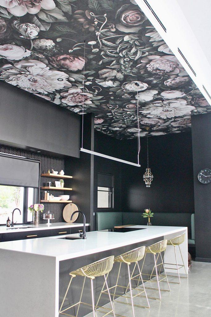 Ellie Cashman's Dark Floral II Black Desaturated Wallpaper