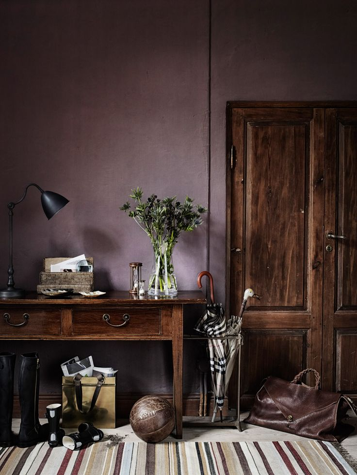 Aubergine  and Brown Colour Scheme in Study