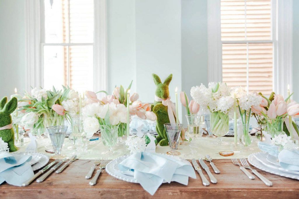 Stunning Easter Tablescape with Grass Bunnies