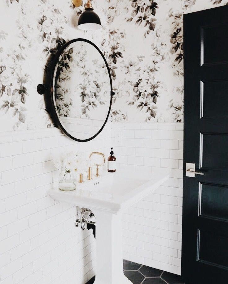 Floral + Tiles Powder Room Design
