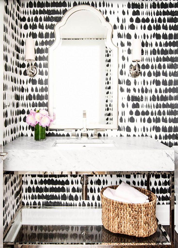 Glamorous, Modern Powder Room