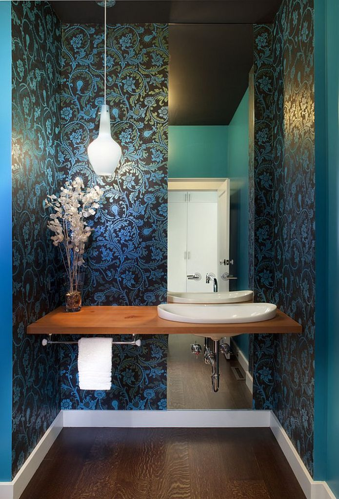 Blue Floral Powder Room Design
