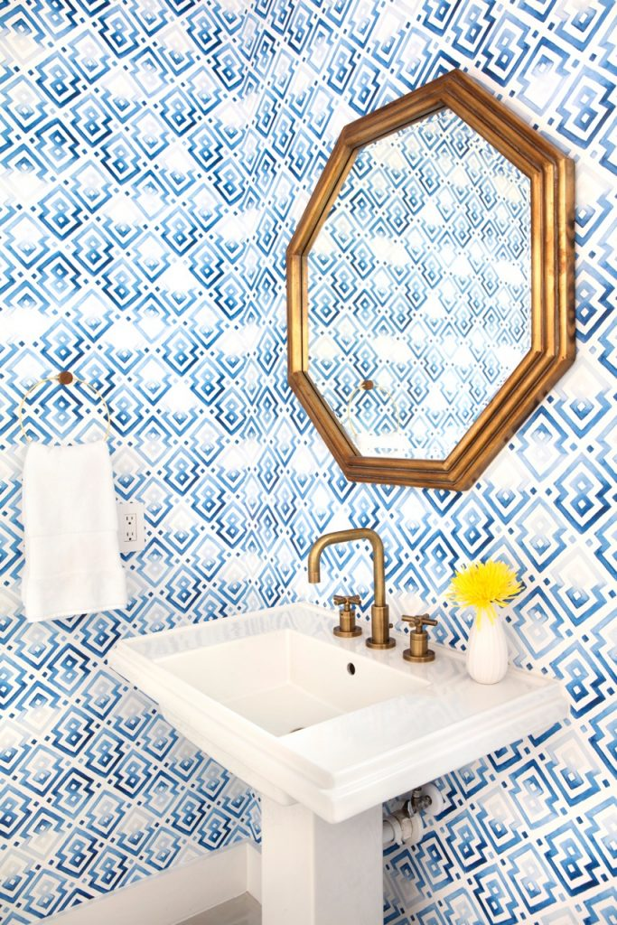 Geometric Statement Powder Room Design