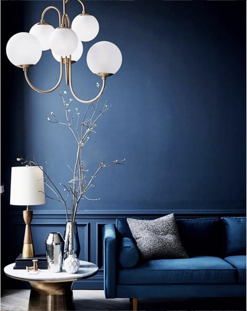 Classic Blue: Moody Modern Lounge