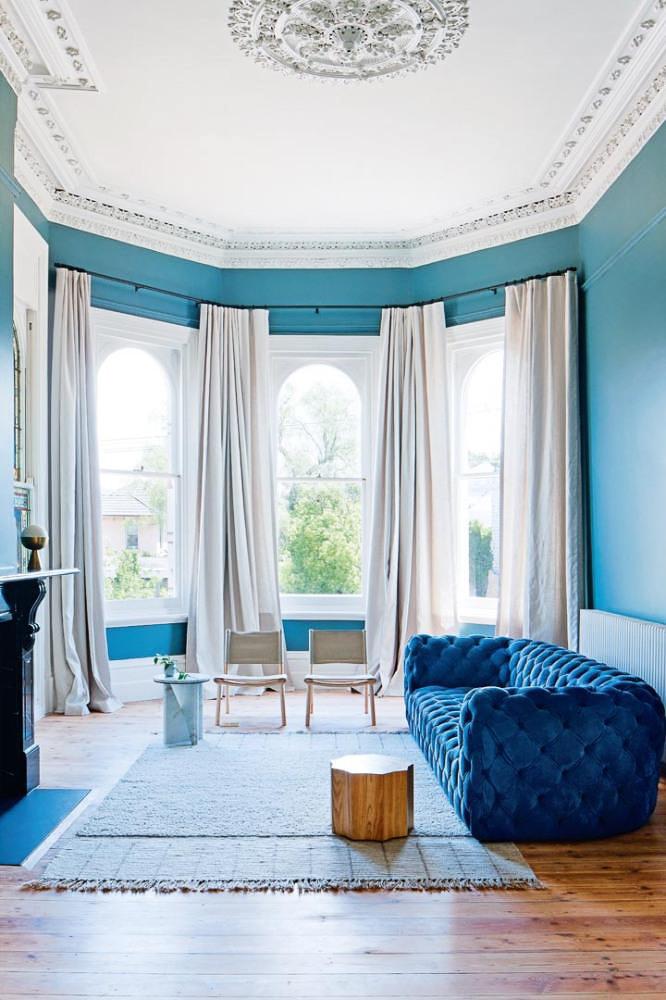 Blue Monochromatic Living Room