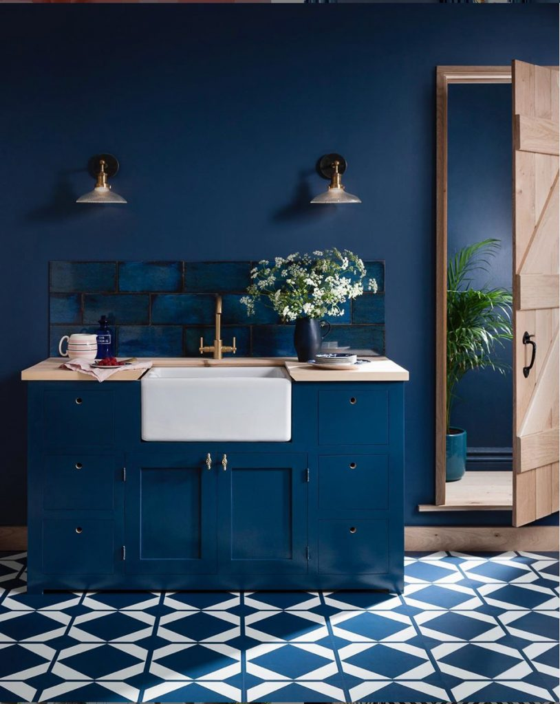 Monochromatic Interior Design: Blue Kitchen