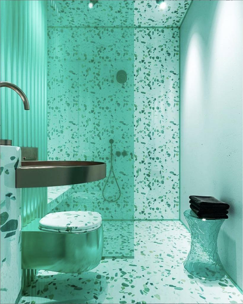 Monochromatic interior Design: Contemporary green bathroom